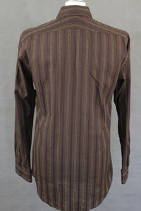 "PAUL SMITH Mens Brown SHIRT with Vibrant Green Stripes - Size 15"" Collar - Small S"