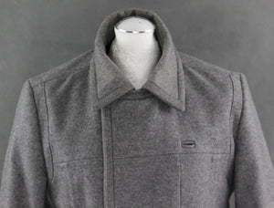 REISS Mens Grey CHESTERFIELD Wool Blend COAT / JACKET - Size Large - L