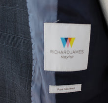 "Load image into Gallery viewer, RICHARD JAMES Mens Blue Check 2 PIECE SUIT - Size 40S - 40"" Chest - Waist 34"" Leg 28"""