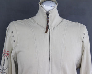 DIESEL Mens Beige Jersey JACKET with Embroidered Detailing - Size Medium - M