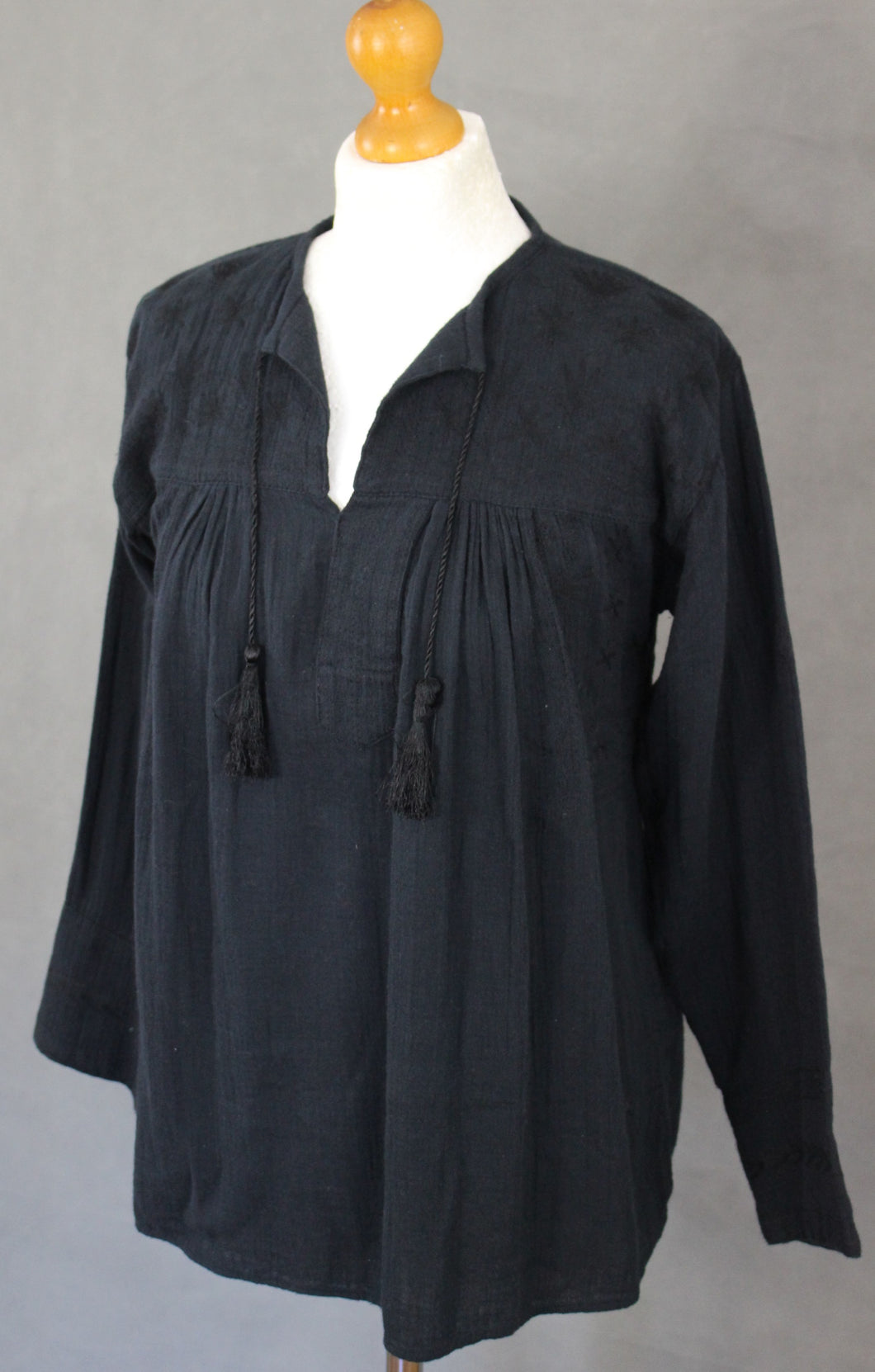 ISABEL MARANT ÉTOILE Ladies Embroidered Black Tassle Neck Tie TOP Size FR 36 - UK 8