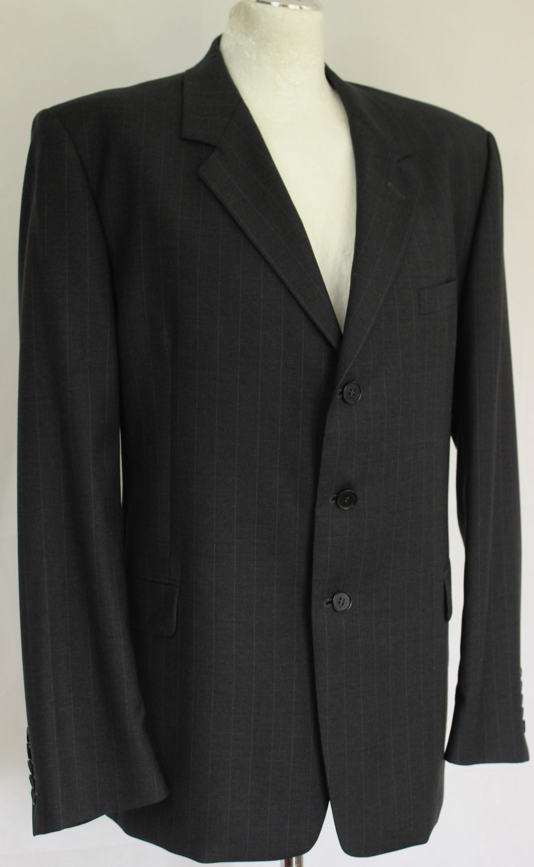 PAUL SMITH Mens Dark Grey Pinstriped 2 PIECE SUIT Size 44