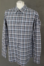 Load image into Gallery viewer, HUGO BOSS Mens LUKAS-2 Blue Grey White Checked Regular Fit SHIRT Size Large - L