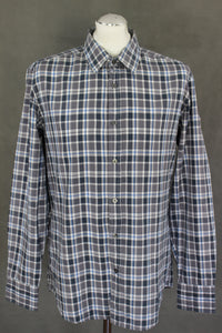 HUGO BOSS Mens LUKAS-2 Blue Grey White Checked Regular Fit SHIRT Size Large - L