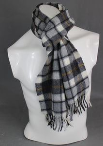 BARBOUR INTERNATIONAL 100% Wool Checked Pattern SCARF - Made in UK