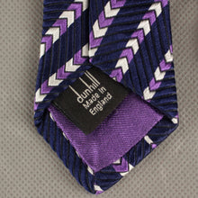 Load image into Gallery viewer, DUNHILL Mens 100% SILK Purple Chevron Pattern TIE - Made in England