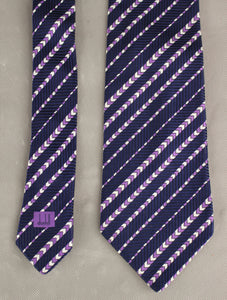 DUNHILL Mens 100% SILK Purple Chevron Pattern TIE - Made in England