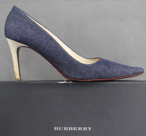 BURBERRY London KATE Denim High Heel COURT SHOES Size EU 40.5 - UK 7.5 - US 9.5