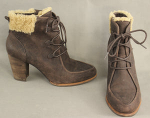 UGG AUSTRALIA Brown High Heel Sheepskin Trimmed Ankle BOOTS - Size EU 41 - UK 8.5 - US 10 - UGGS