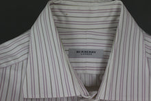 "Load image into Gallery viewer, BURBERRY London Mens Purple Striped SHIRT - Size 16"" Collar - Large - L"