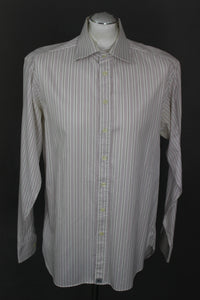 "BURBERRY London Mens Purple Striped SHIRT - Size 16"" Collar - Large - L"
