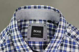HUGO BOSS Mens RENZO MODERN ESSENTIALS Regular Fit Checked SHIRT - Size MEDIUM M