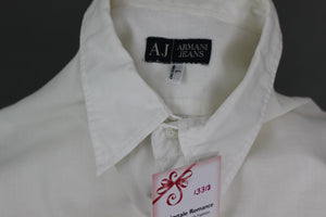 ARMANI JEANS Mens White Cotton & Linen Blend Short Sleeved SHIRT - Size Large L
