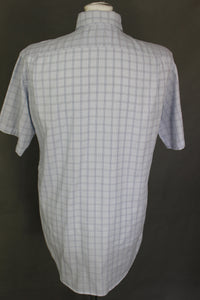LACOSTE Mens Blue Check Pattern Short Sleeved SHIRT - Size 40 - Medium - M