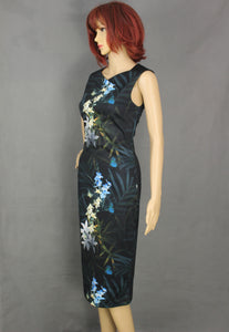 TED BAKER Black LOUA Floral Pattern Pencil DRESS Ted Size 0 - XXS 2XS - UK 6