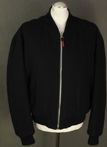 ARMANI Mens Black Virgin Wool Blend BOMBER JACKET / COAT Size IT 50 - Large - L