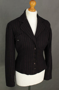 ARMAND VENTILO Ladies Purple Striped Wool Blend JACKET Size FR 38 - UK 10 - IT 42