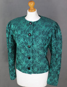 Vintage CHRISTIAN DIOR Coordonnés Green Silk Blend JACKET Size FR 38 UK 10