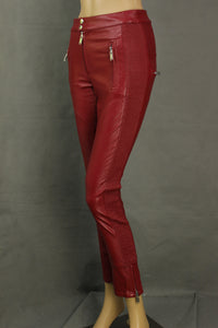 ISABEL MARANT ÉTOILE Red ZAPPERY Faux Leather TROUSERS - Size FR 34 - UK 6