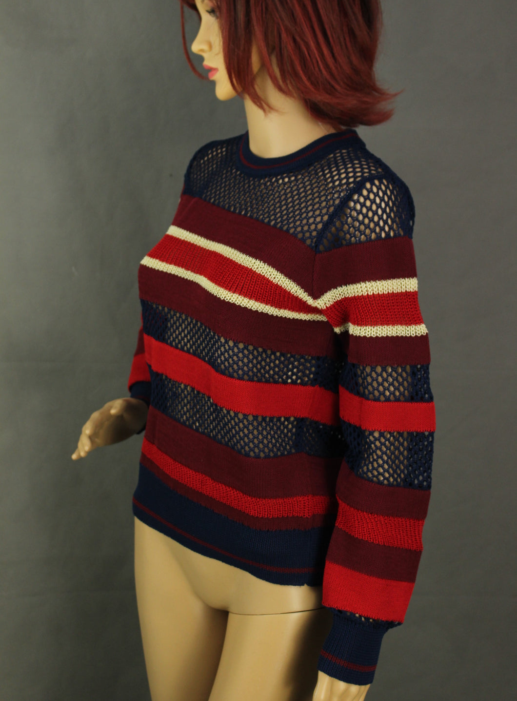 ISABEL MARANT ÉTOILE Contrast Knit Navy & Red Striped JUMPER Size FR 36 - UK 8