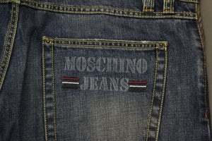 "MOSCHINO Mens Blue Denim Leather Trim Classic Fit JEANS Size Waist 36"" - Leg 36"""