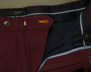 "New TED BAKER Mens STATRO Maroon CHINOS / TROUSERS Size 30R - Waist 30"" - Leg 32""BNWOT"