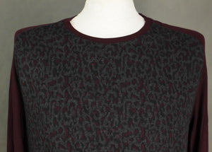 New TED BAKER Mens Maroon LEOPARD PRINT KENN JUMPER Ted Size 5 - Extra Large XL BNWOT