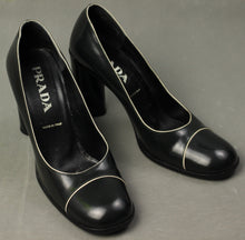 Load image into Gallery viewer, PRADA Black Court Shoe HEELS Size 38.5 - UK 5.5 - US 7.5