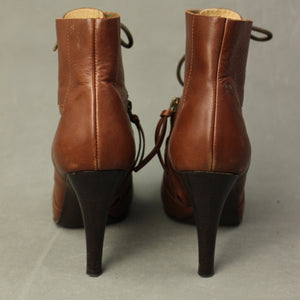 Paul Smith Ladies Brown Leather High Heeled ANKLE BOOTS Size EU 39 - UK 6