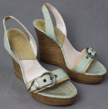 Load image into Gallery viewer, DIOR Snakeskin High Heel Wedge Buckled Sandals Size EU 39 - UK 6