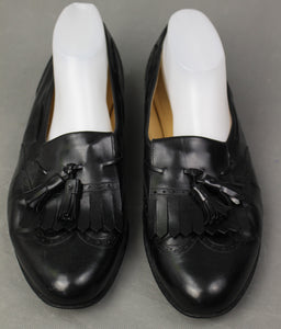 SALVATORE FERRAGAMO Mens Black Leather Tassled Brogue SHOES Size 13 D - UK 12 - EU 47