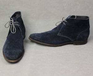 CROCKETT & JONES Mens Blue Suede HAYLE BOOTS - Size UK 11 - EU 45