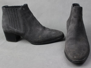 TOD'S Ladies Grey Suede Heeled CHELSEA BOOTS - Size 36.5 - UK 4 - US 6.5 - TODS