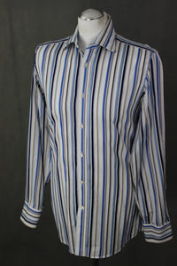 "DUCHAMP London Blue Striped SHIRT - Size 15"" Collar - SMALL - S"