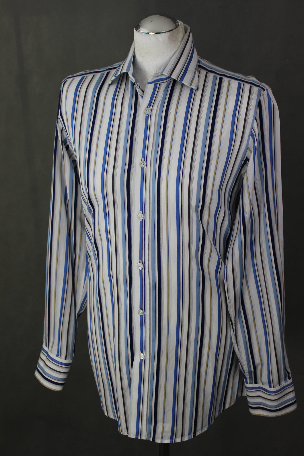 DUCHAMP London Blue Striped SHIRT - Size 15