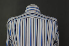 "Load image into Gallery viewer, DUCHAMP London Blue Striped SHIRT - Size 15"" Collar - SMALL - S"