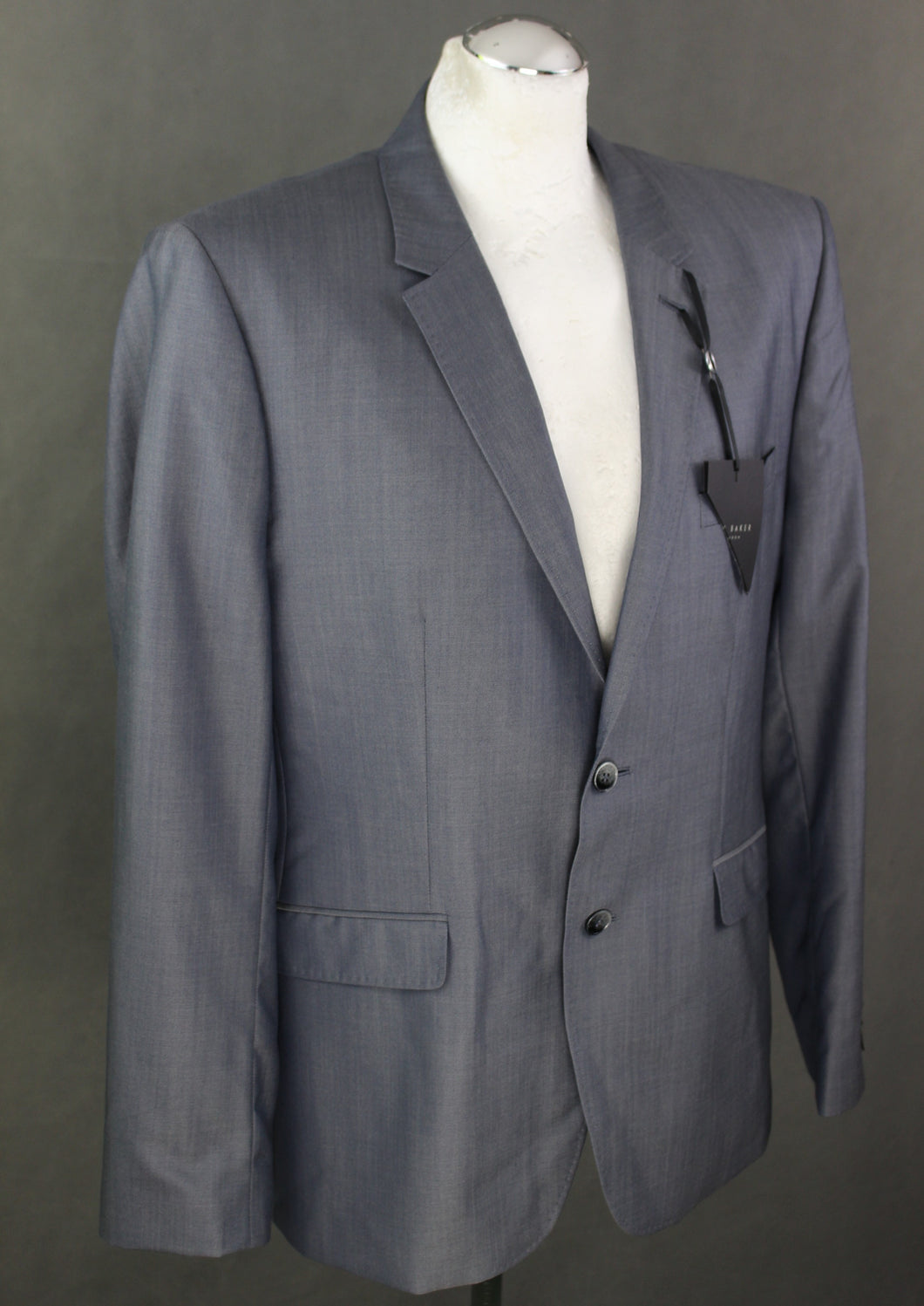 New TED BAKER PASHION Grey Wool & Silk Blend JACKET / BLAZER Size 44R 44