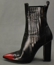 Load image into Gallery viewer, ALLSAINTS Ladies Black and Red Leather High Heel ANKLE BOOTS - Size EU 41 / UK 8