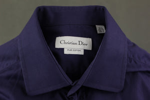 "CHRISTIAN DIOR Mens Purple Long Sleeved SHIRT - Size 15.5"" Collar - M Medium"