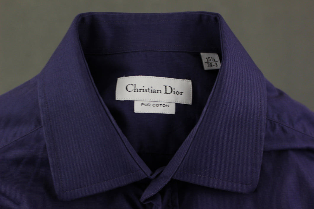 CHRISTIAN DIOR Mens Purple Long Sleeved SHIRT - Size 15.5