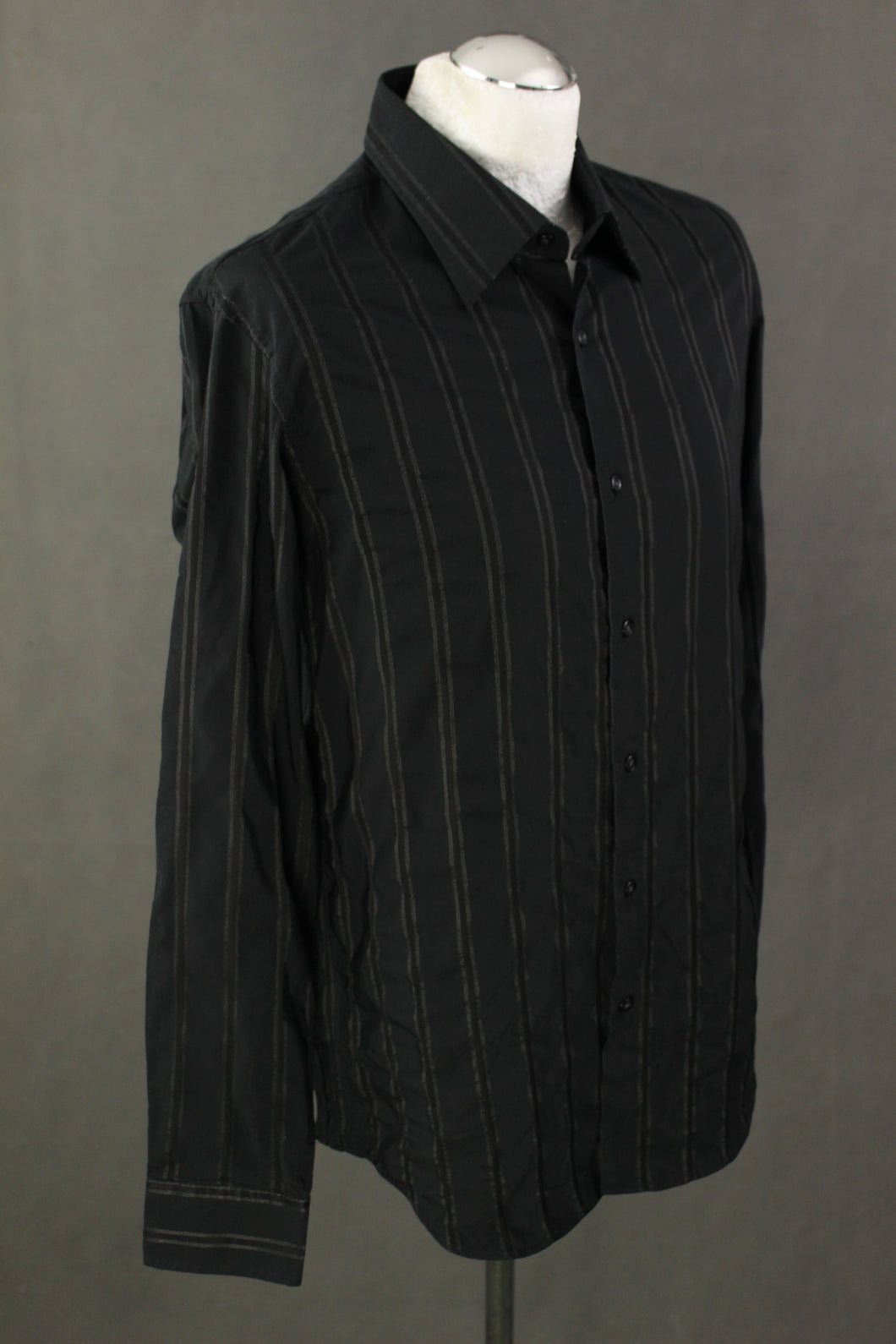HUGO BOSS Mens Black Striped Pattern SHIRT Size 16.5