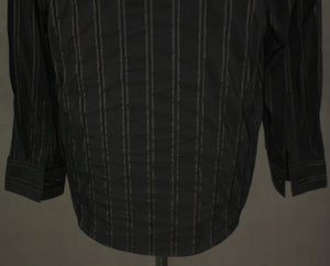 "HUGO BOSS Mens Black Striped Pattern SHIRT Size 16.5"" Collar - Extra Large - XL"