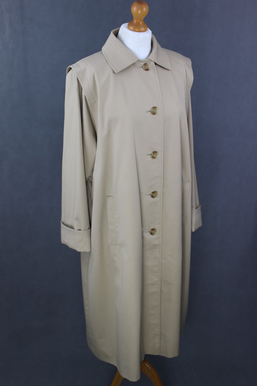AQUASCUTUM Ladies Beige AQUA5 TRENCH COAT / MAC JACKET- Size UK 12