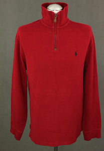 POLO by RALPH LAUREN Mens Red Zip Neck JUMPER - Size LARGE L