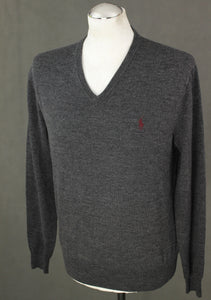 POLO RALPH LAUREN Mens Grey 100% Merino Wool JUMPER - Size Medium M