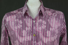 Load image into Gallery viewer, DESIGUAL Mens Pink Floral & Striped Pattern SHIRT - Size Medium M