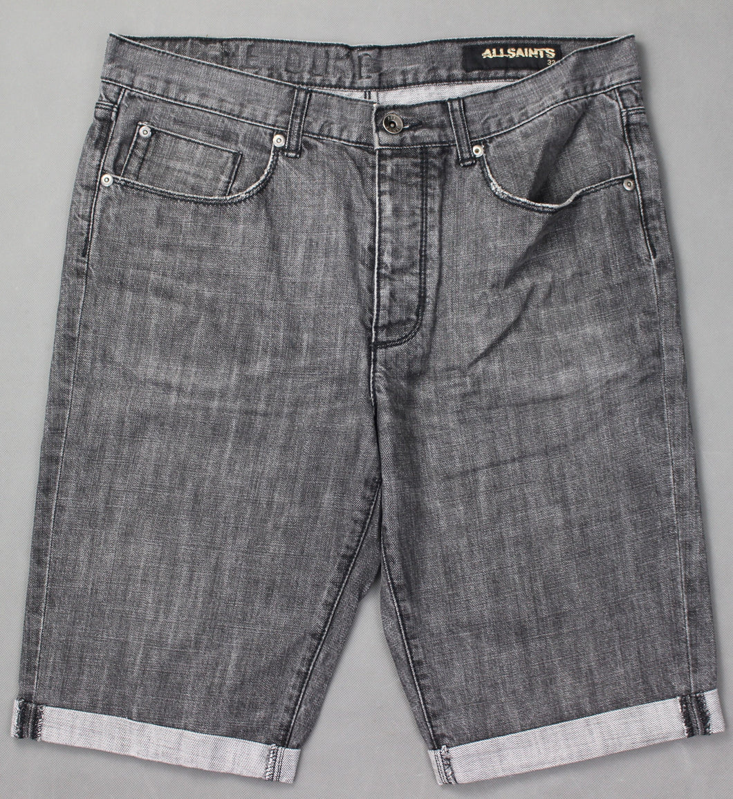 ALLSAINTS Mens Grey Denim CASSIDY DUKE FIT SHORTS - Size Waist 32