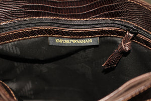 EMPORIO ARMANI BROWN LEATHER SATCHEL BAG STYLE HANDBAG / SHOULDER BAG