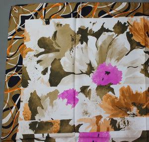 100% SILK Floral Pattern SCARF - 88cm x 88cm - Made in Italy