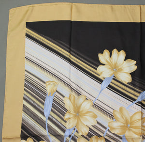 100% SILK Floral Pattern SCARF - 87cm x 87cm - Made in Italy